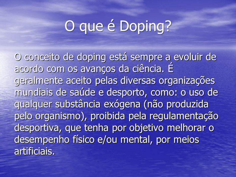 O que é Doping? O conceito de doping está sempre a evoluir de acordo com os avanços da ciência. É geralmente aceito pelas diversas organizações mundia