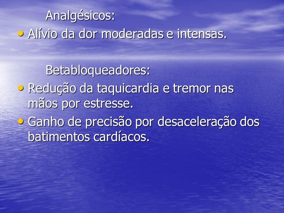 Analgésicos: Alívio da dor moderadas e intensas. Alívio da dor moderadas e intensas.Betabloqueadores: Redução da taquicardia e tremor nas mãos por est