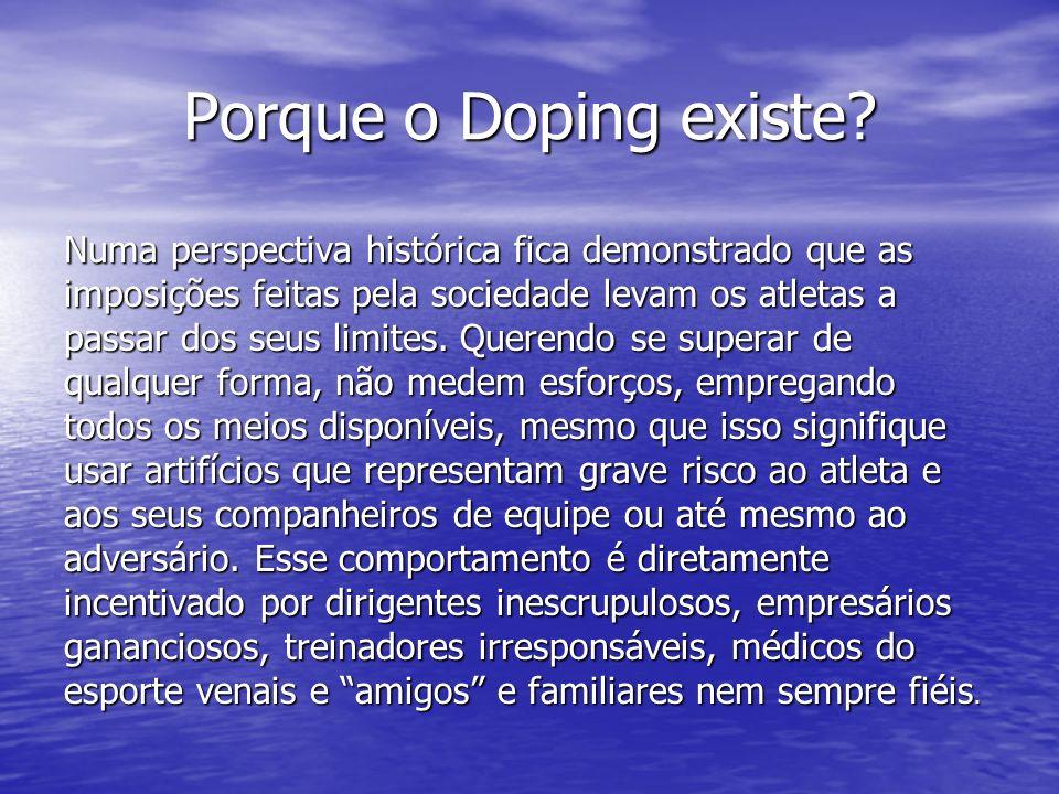 Porque o Doping existe? Numa perspectiva histórica fica demonstrado que as imposições feitas pela sociedade levam os atletas a passar dos seus limites