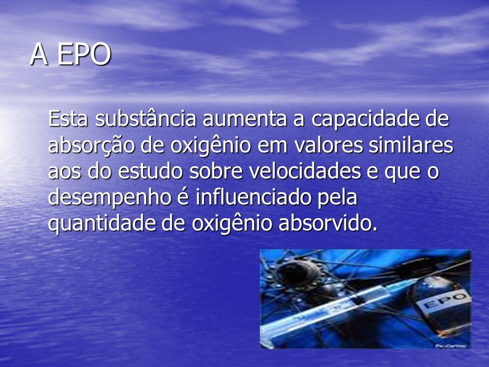 A EPO Esta substância aumenta a capacidade de absorção de oxigênio em valores similares aos do estudo sobre velocidades e que o desempenho é influenci