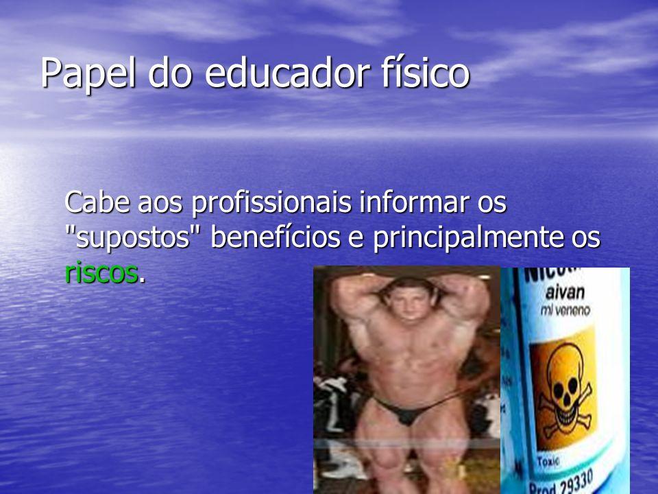 Papel do educador físico Cabe aos profissionais informar os
