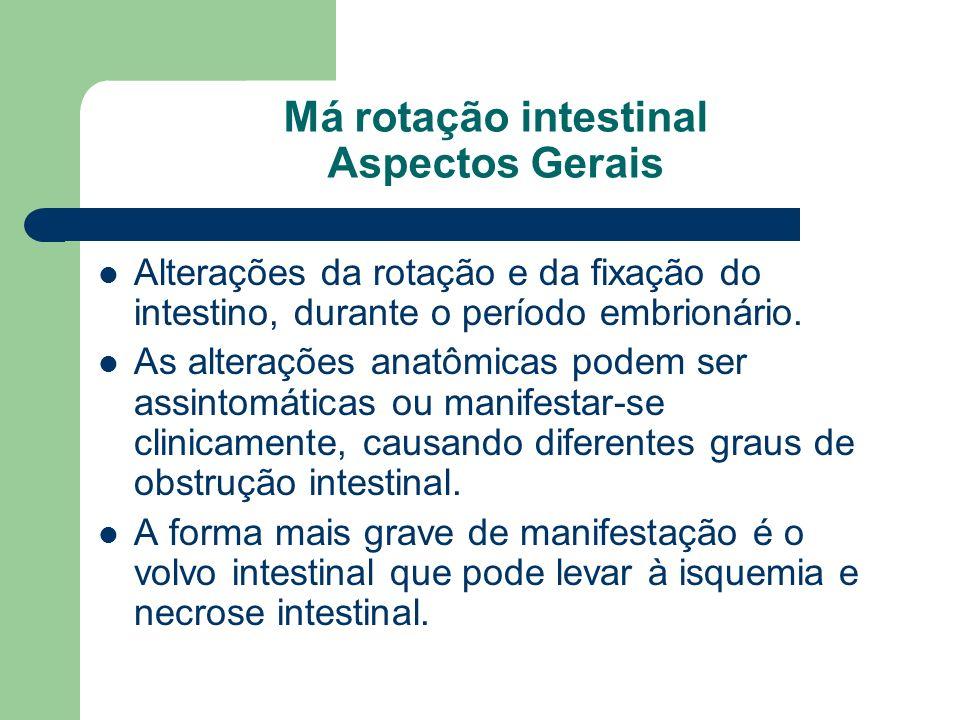 Má rotação intestinal Aspectos Gerais Alterações da rotação e da fixação do intestino, durante o período embrionário. As alterações anatômicas podem s