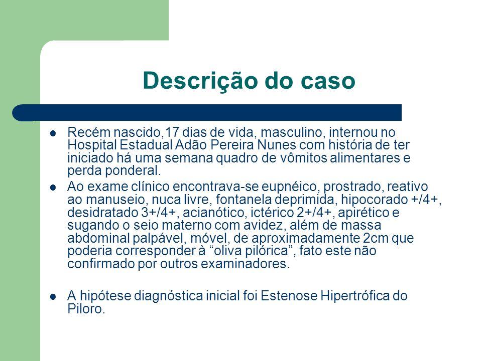 Descrição do caso Recém nascido,17 dias de vida, masculino, internou no Hospital Estadual Adão Pereira Nunes com história de ter iniciado há uma seman