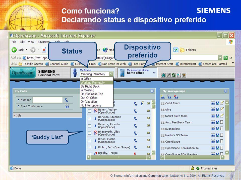 Como funciona? Declarando status e dispositivo preferido 10 © Siemens Information and Communication Networks, Inc. 2004. All Rights Reserved. Status D