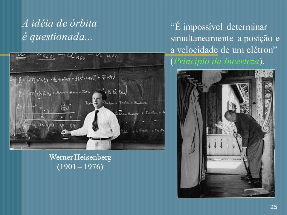 25 A idéia de órbita é questionada... Werner Heisenberg (1901 – 1976) É impossível determinar simultaneamente a posição e a velocidade de um elétron (