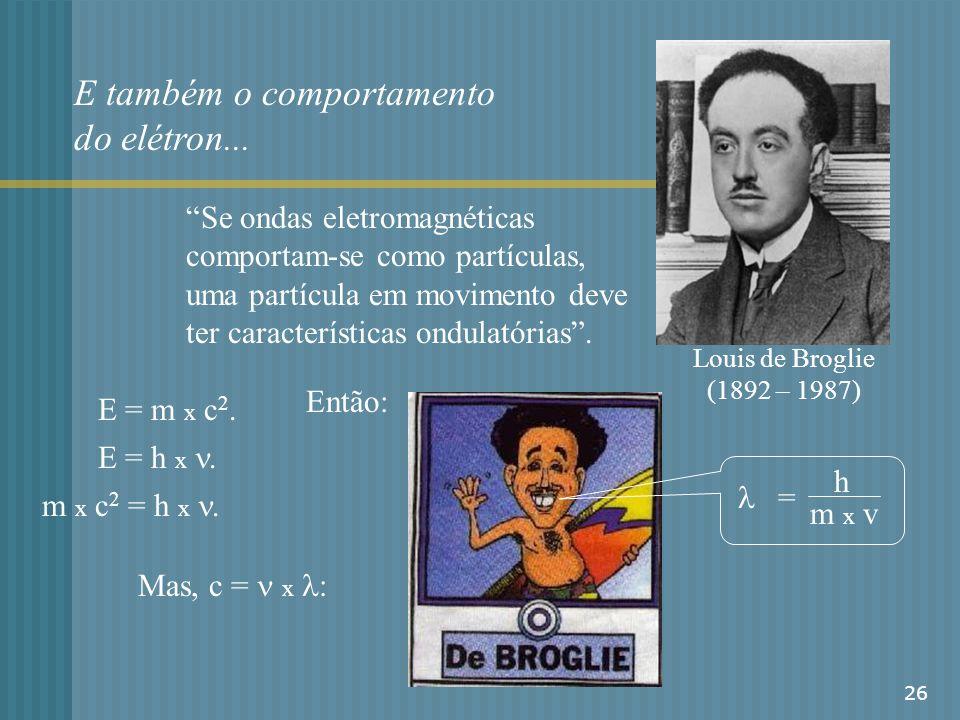26 E também o comportamento do elétron... Louis de Broglie (1892 – 1987) Se ondas eletromagnéticas comportam-se como partículas, uma partícula em movi