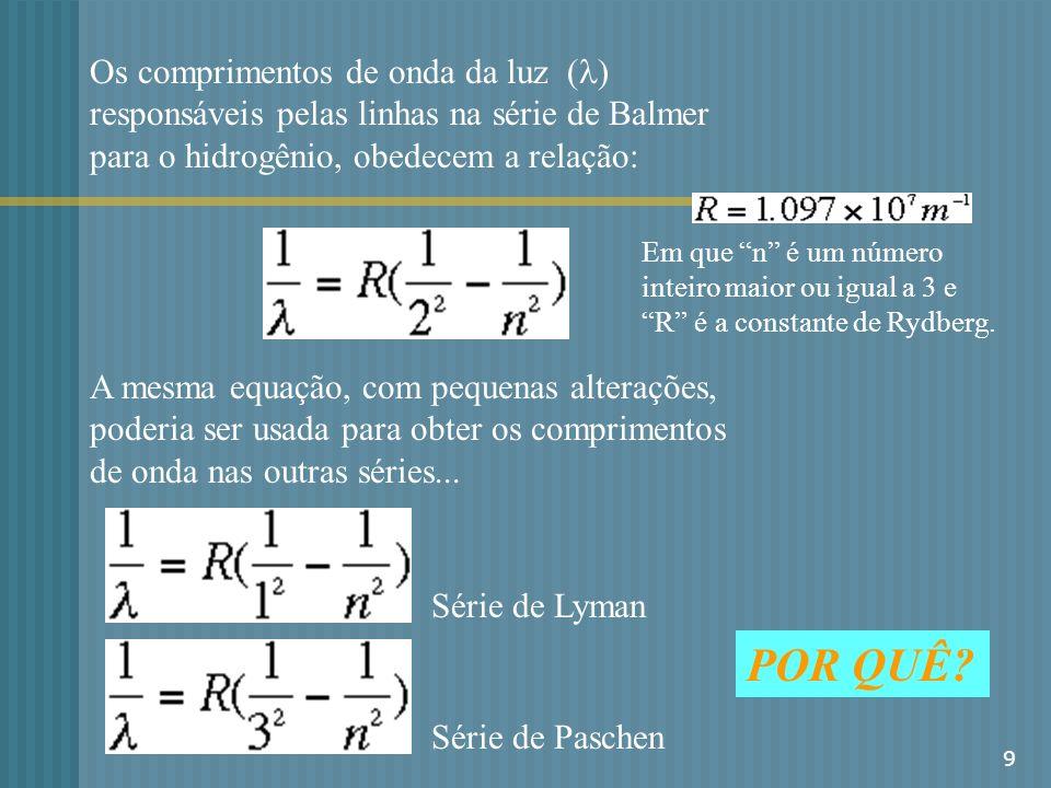 9 Os comprimentos de onda da luz ( ) responsáveis pelas linhas na série de Balmer para o hidrogênio, obedecem a relação: Em que n é um número inteiro