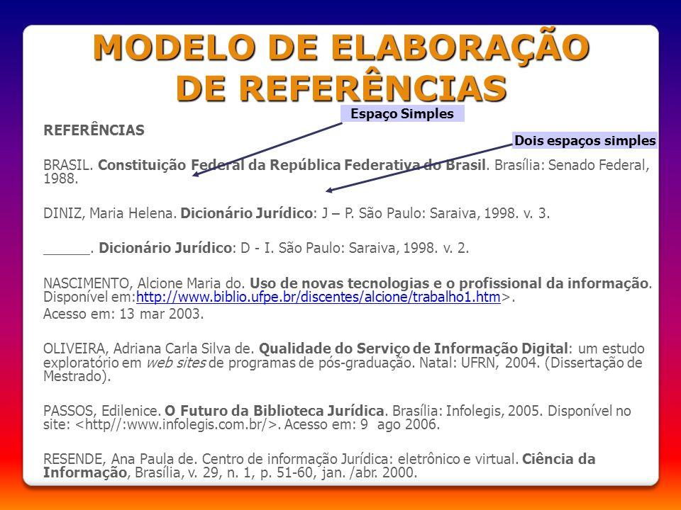 REFERÊNCIAS BRASIL. Constituição Federal da República Federativa do Brasil. Brasília: Senado Federal, 1988. DINIZ, Maria Helena. Dicionário Jurídico: