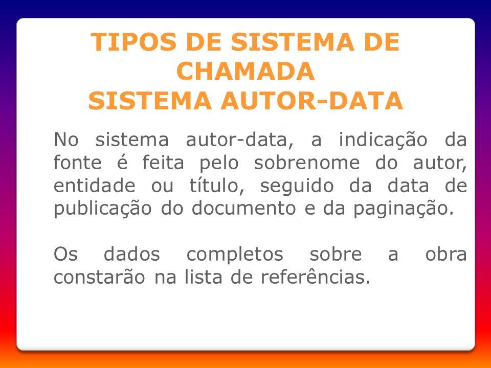 No sistema autor-data, a indicação da fonte é feita pelo sobrenome do autor, entidade ou título, seguido da data de publicação do documento e da pagin