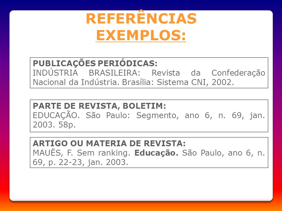 REFERÊNCIAS EXEMPLOS: PUBLICAÇÕES PERIÓDICAS: INDÚSTRIA BRASILEIRA: Revista da Confederação Nacional da Indústria. Brasília: Sistema CNI, 2002. PARTE
