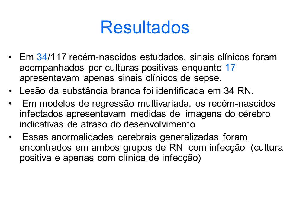 Resultados Em 34/117 recém-nascidos estudados, sinais clínicos foram acompanhados por culturas positivas enquanto 17 apresentavam apenas sinais clínic
