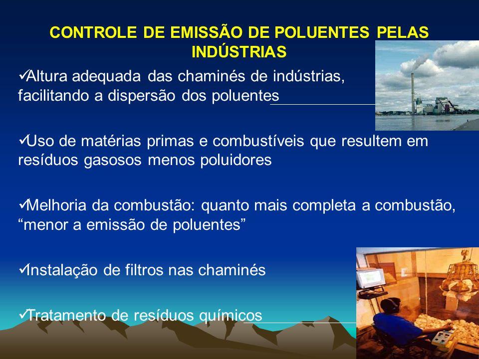 CONTROLE DE EMISSÃO DE POLUENTES PELAS INDÚSTRIAS Altura adequada das chaminés de indústrias, facilitando a dispersão dos poluentes Uso de matérias pr
