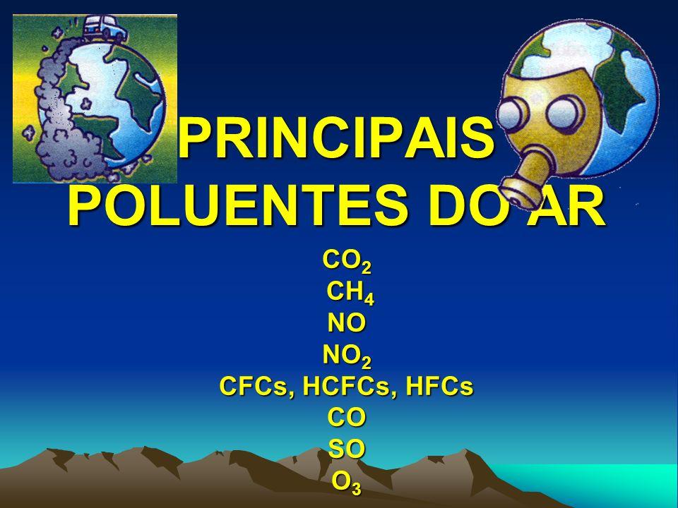 DIÓXIDO DE CARBONO (CO 2 ) FONTES respiração, decomposição de plantas e animais e queimadas naturais de florestas; queima de combustíveis fósseis, desflorestamento, queima de biomassa e fabricação de cimento CONCENTRAÇÃO antes 1750 - 280 ppmv (partes por milhão por volume ) em 1992 – 355 ppmv atualmente – 400 ppmv EFEITOS Principal gás do efeito estufa