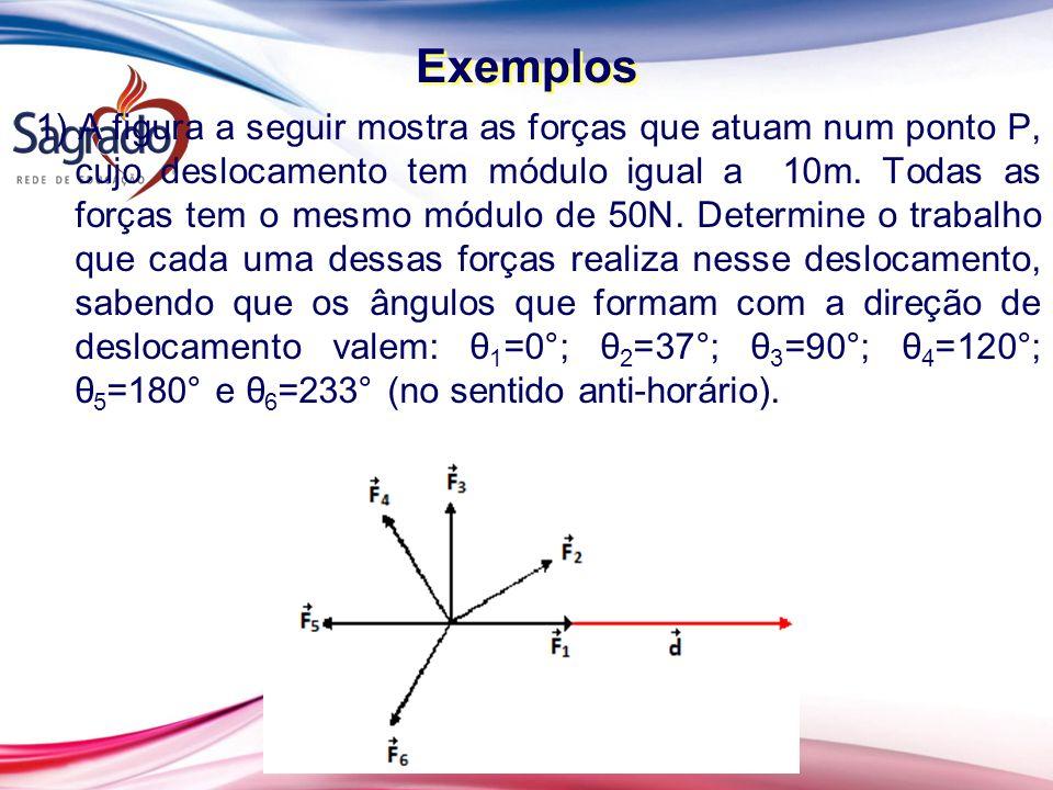1) A figura a seguir mostra as forças que atuam num ponto P, cujo deslocamento tem módulo igual a 10m.
