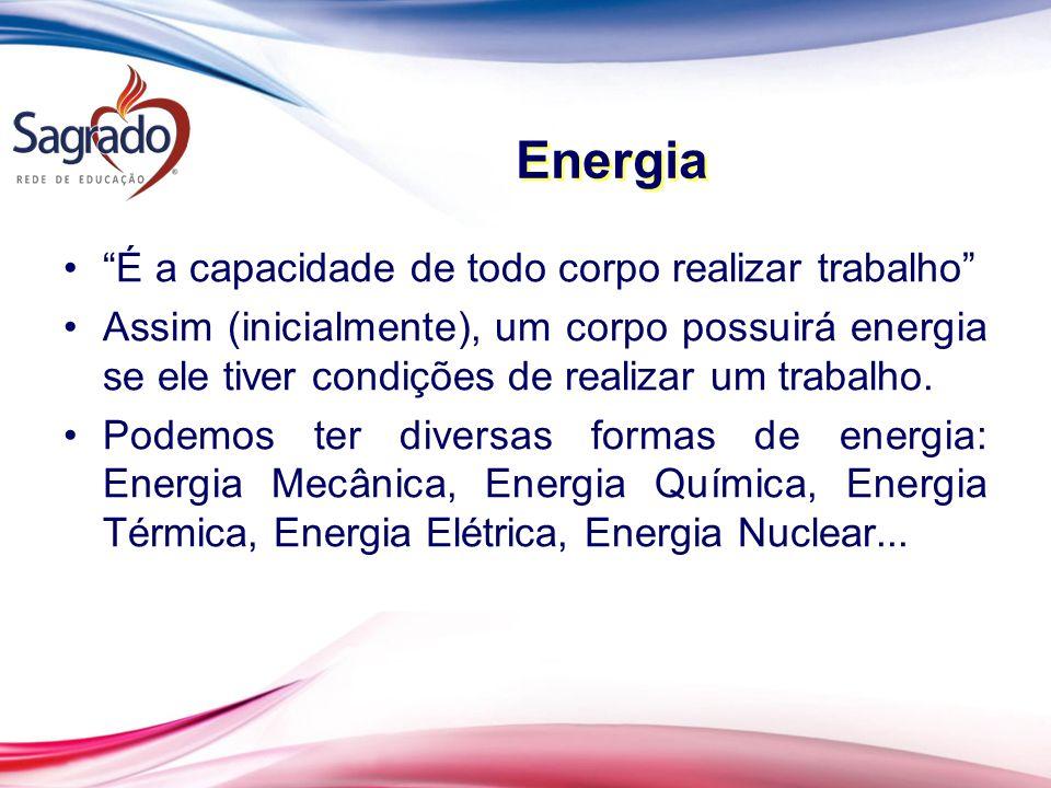 É a capacidade de todo corpo realizar trabalho Assim (inicialmente), um corpo possuirá energia se ele tiver condições de realizar um trabalho.