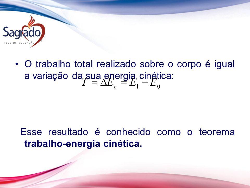 O trabalho total realizado sobre o corpo é igual a variação da sua energia cinética: Esse resultado é conhecido como o teorema trabalho-energia cinética.