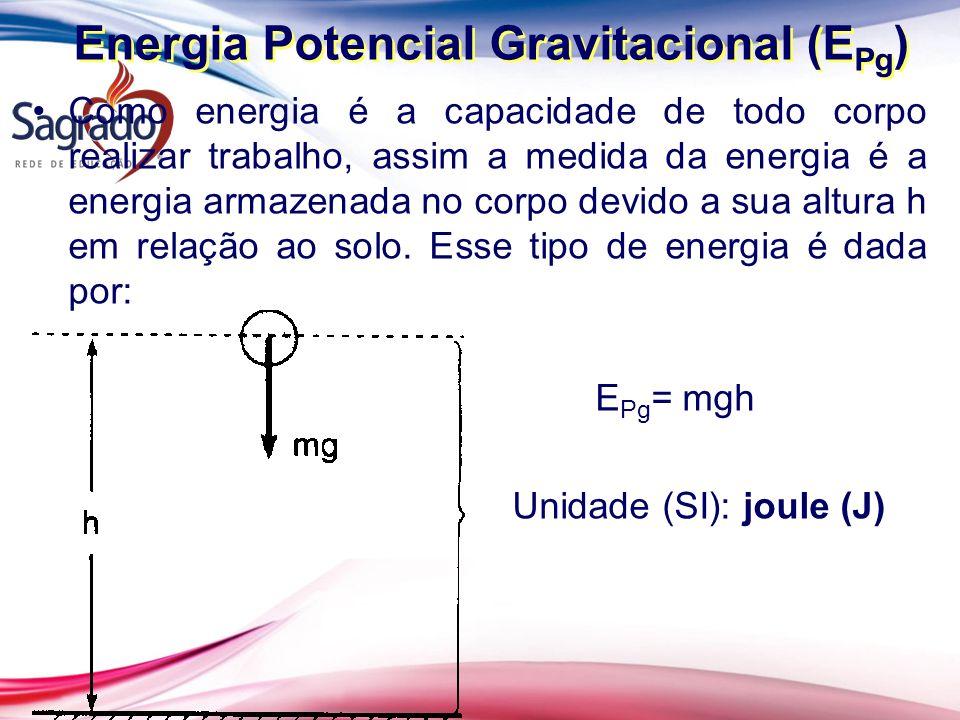 Como energia é a capacidade de todo corpo realizar trabalho, assim a medida da energia é a energia armazenada no corpo devido a sua altura h em relação ao solo.