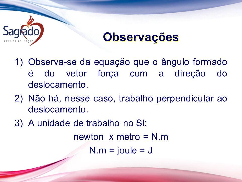 1)Observa-se da equação que o ângulo formado é do vetor força com a direção do deslocamento.