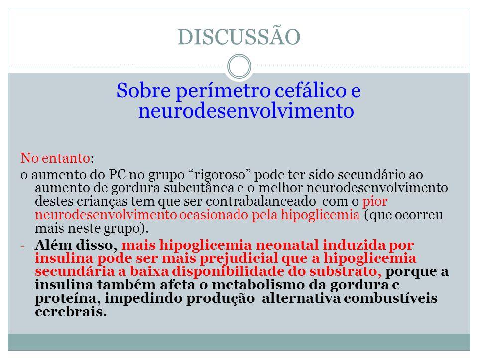 Sobre perímetro cefálico e neurodesenvolvimento No entanto: o aumento do PC no grupo rigoroso pode ter sido secundário ao aumento de gordura subcutâne