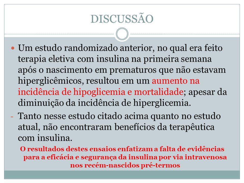 Um estudo randomizado anterior, no qual era feito terapia eletiva com insulina na primeira semana após o nascimento em prematuros que não estavam hipe