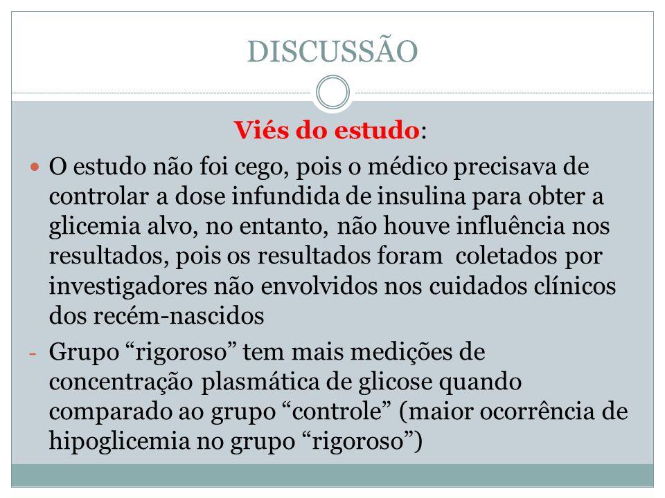 DISCUSSÃO Viés do estudo: O estudo não foi cego, pois o médico precisava de controlar a dose infundida de insulina para obter a glicemia alvo, no enta