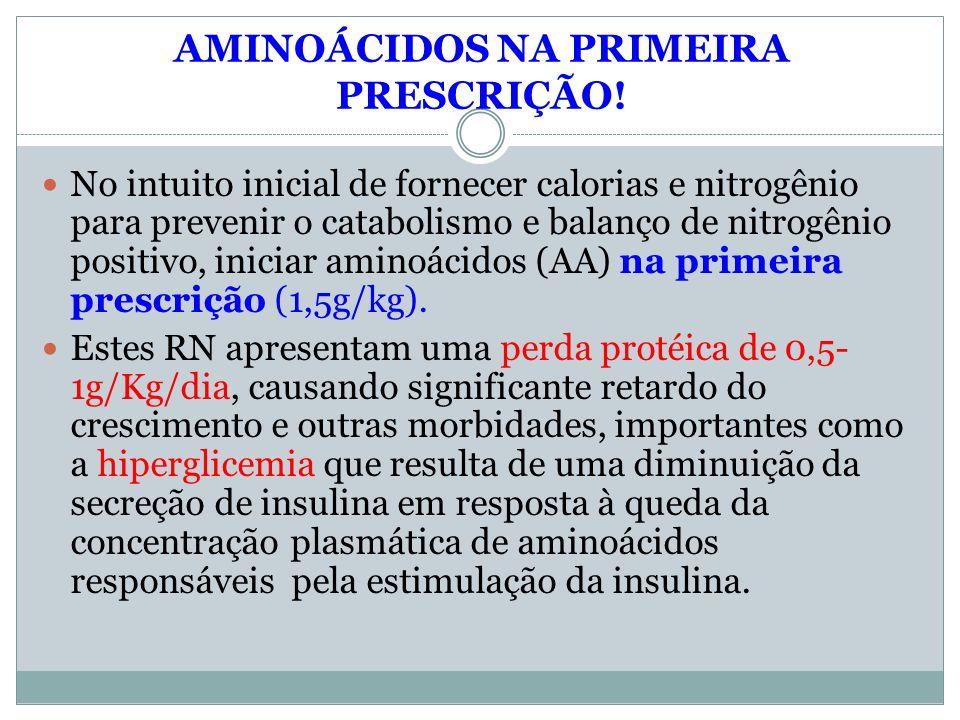 AMINOÁCIDOS NA PRIMEIRA PRESCRIÇÃO! No intuito inicial de fornecer calorias e nitrogênio para prevenir o catabolismo e balanço de nitrogênio positivo,