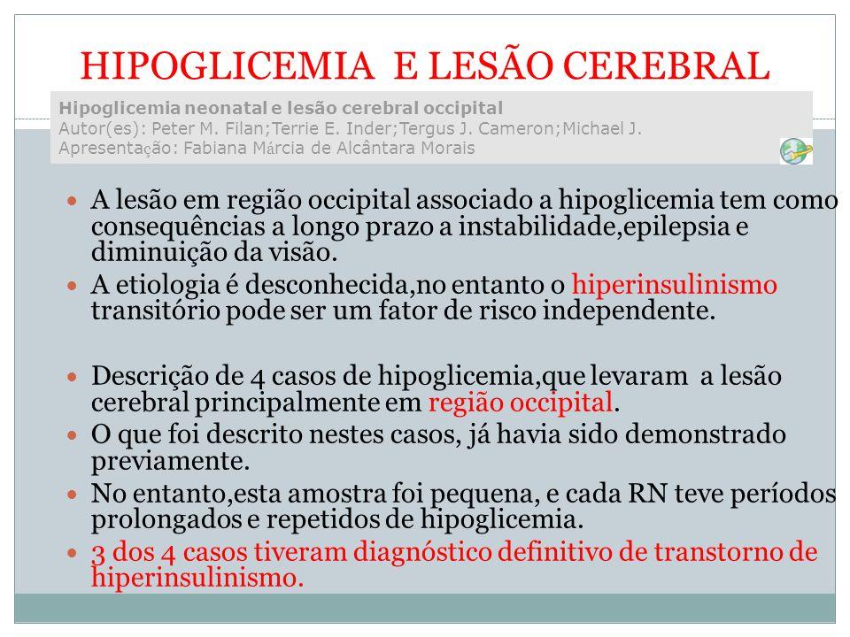 HIPOGLICEMIA E LESÃO CEREBRAL A lesão em região occipital associado a hipoglicemia tem como consequências a longo prazo a instabilidade,epilepsia e di