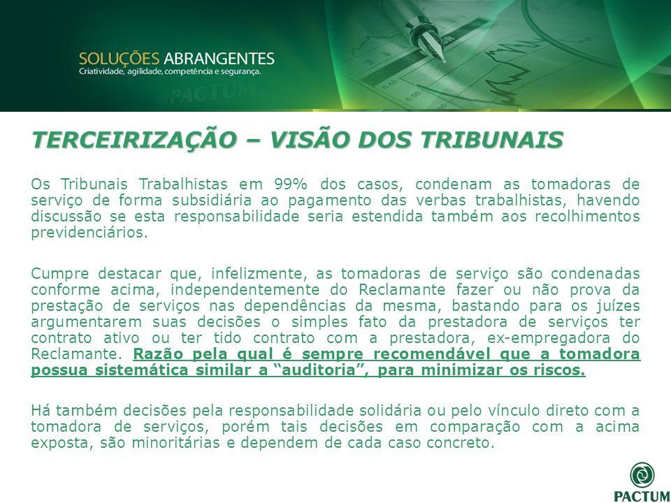 TERCEIRIZAÇÃO – VISÃO DOS TRIBUNAIS Os Tribunais Trabalhistas em 99% dos casos, condenam as tomadoras de serviço de forma subsidiária ao pagamento das