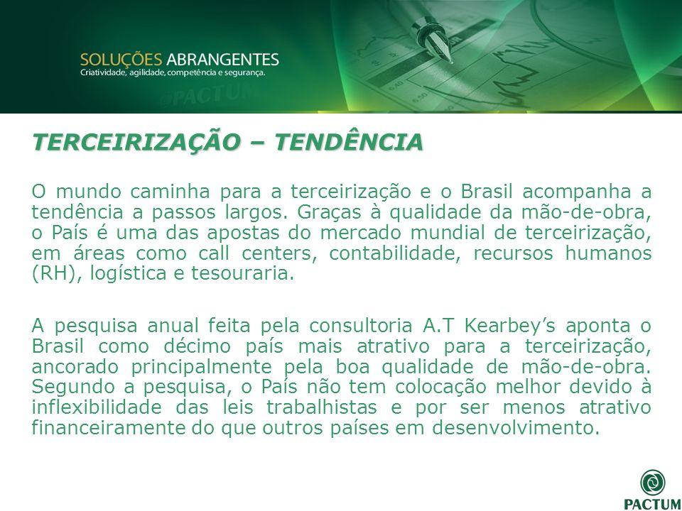 TERCEIRIZAÇÃO – TENDÊNCIA O mundo caminha para a terceirização e o Brasil acompanha a tendência a passos largos. Graças à qualidade da mão-de-obra, o