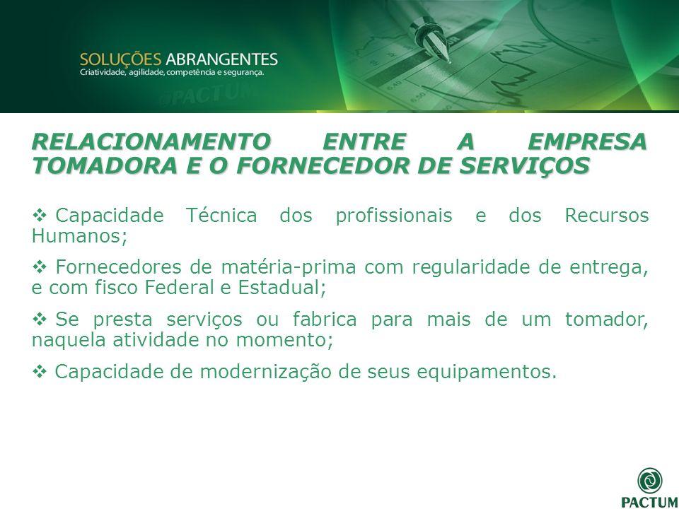 RELACIONAMENTO ENTRE A EMPRESA TOMADORA E O FORNECEDOR DE SERVIÇOS Capacidade Técnica dos profissionais e dos Recursos Humanos; Fornecedores de matéri