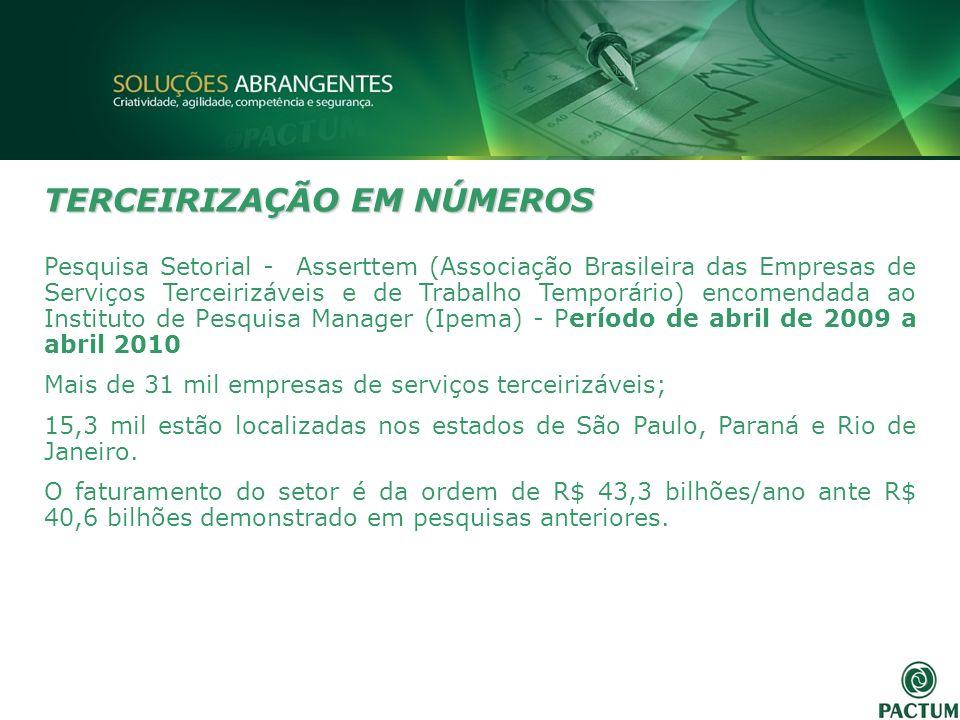 TERCEIRIZAÇÃO EM NÚMEROS Pesquisa Setorial - Asserttem (Associação Brasileira das Empresas de Serviços Terceirizáveis e de Trabalho Temporário) encome