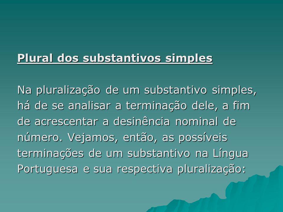 Plural dos substantivos simples Na pluralização de um substantivo simples, há de se analisar a terminação dele, a fim de acrescentar a desinência nomi