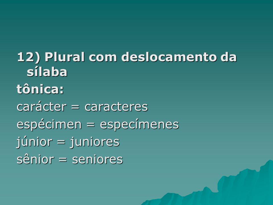 12) Plural com deslocamento da sílaba tônica: carácter = caracteres espécimen = especímenes júnior = juniores sênior = seniores