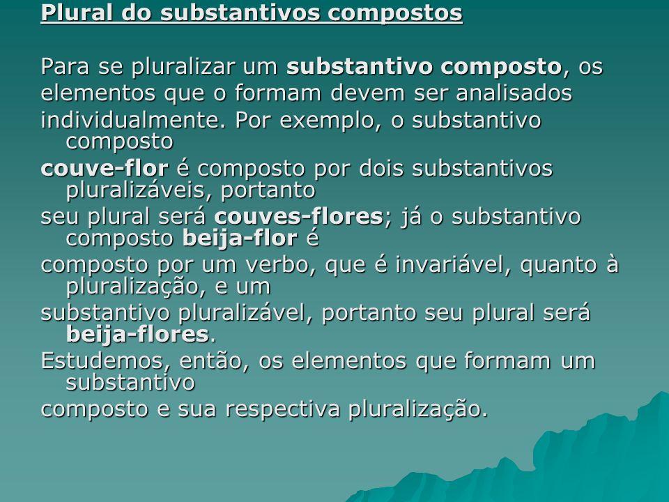 Plural do substantivos compostos Para se pluralizar um substantivo composto, os elementos que o formam devem ser analisados individualmente. Por exemp