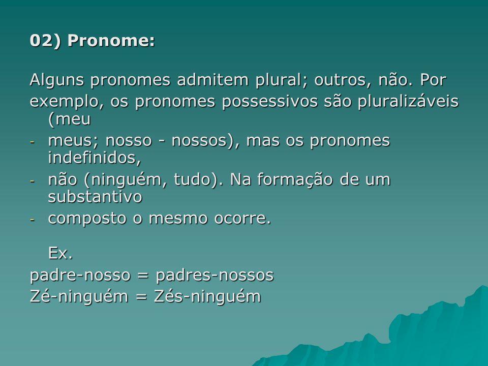 02) Pronome: Alguns pronomes admitem plural; outros, não. Por exemplo, os pronomes possessivos são pluralizáveis (meu - meus; nosso - nossos), mas os