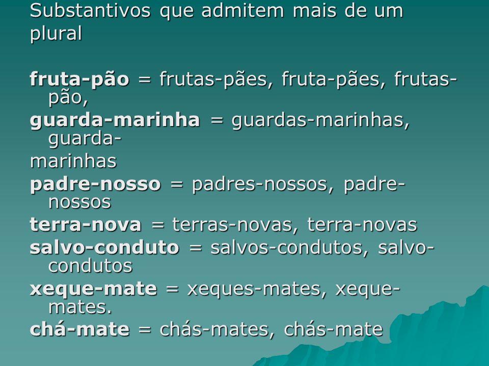 Substantivos que admitem mais de um plural fruta-pão = frutas-pães, fruta-pães, frutas- pão, guarda-marinha = guardas-marinhas, guarda- marinhas padre