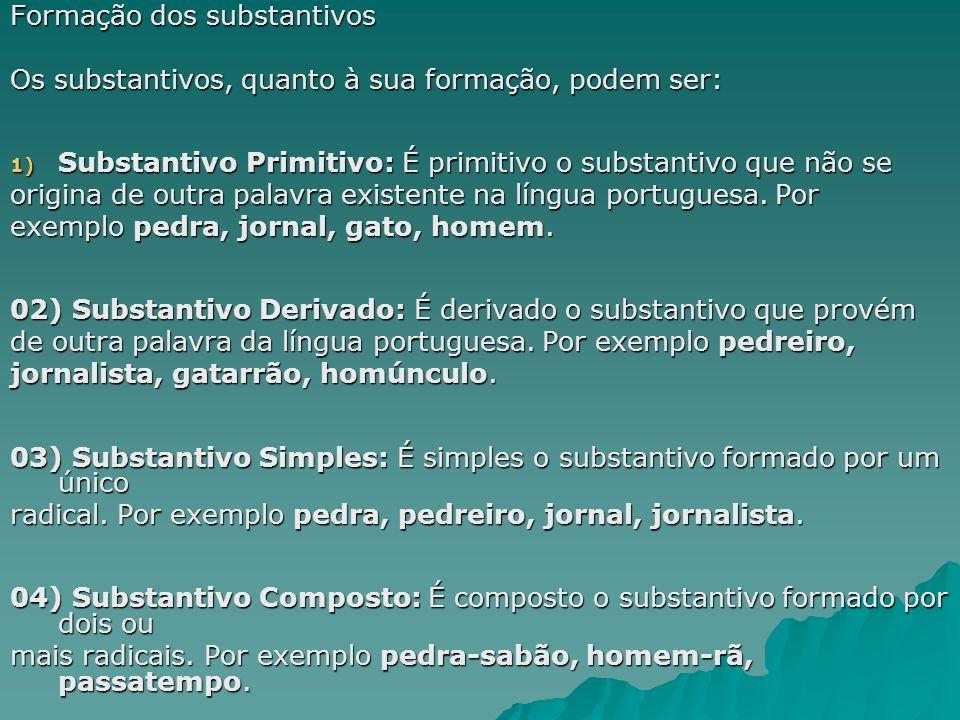 Formação dos substantivos Os substantivos, quanto à sua formação, podem ser: 1) Substantivo Primitivo: É primitivo o substantivo que não se origina de