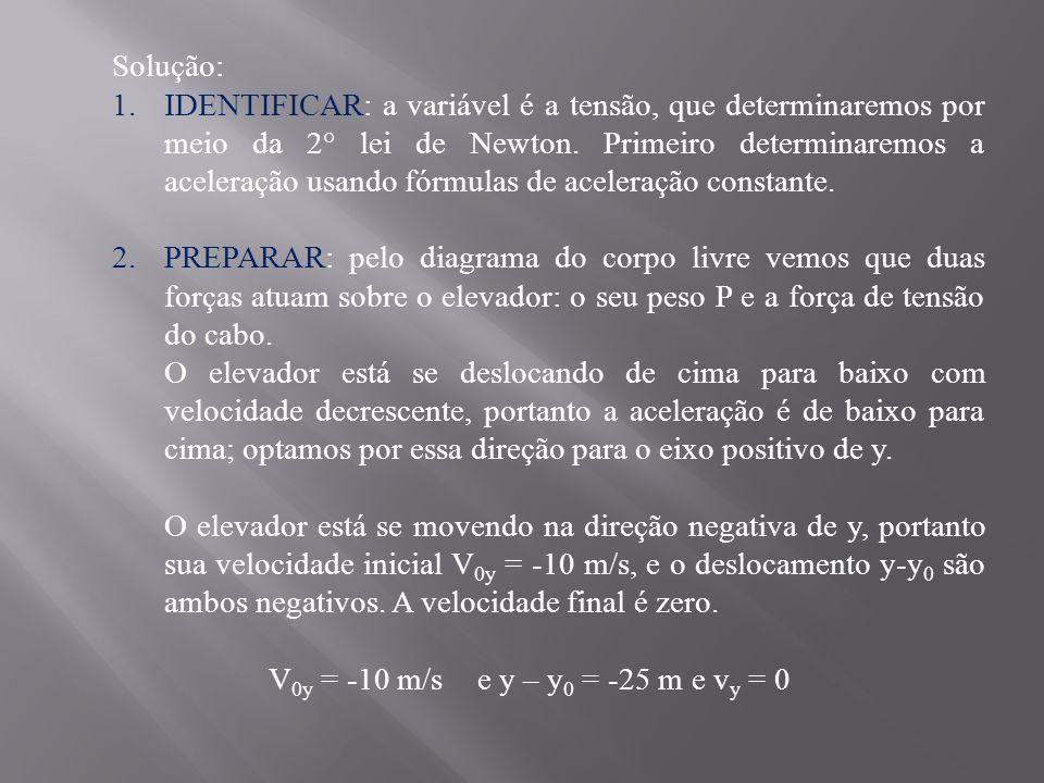 Solução: 1.IDENTIFICAR: a variável é a tensão, que determinaremos por meio da 2° lei de Newton.