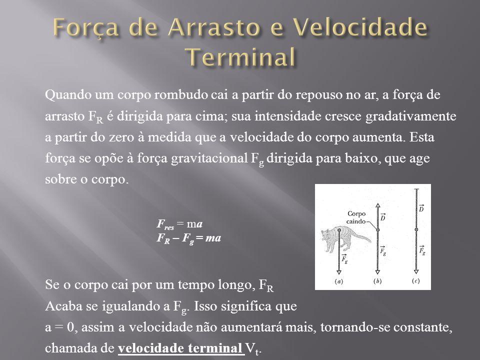 Quando um corpo rombudo cai a partir do repouso no ar, a força de arrasto F R é dirigida para cima; sua intensidade cresce gradativamente a partir do zero à medida que a velocidade do corpo aumenta.