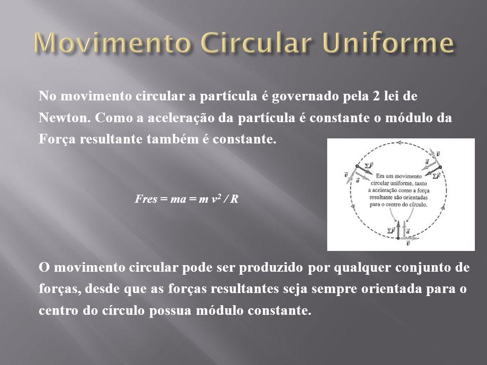 No movimento circular a partícula é governado pela 2 lei de Newton.