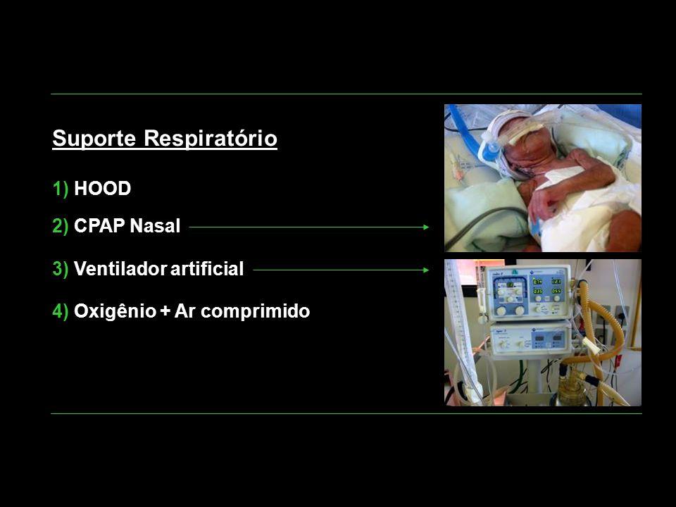Suporte Respiratório 1) HOOD 2) CPAP Nasal 3) Ventilador artificial 4) Oxigênio + Ar comprimido