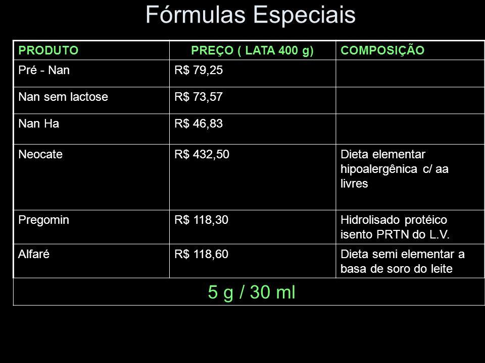 Fórmulas Especiais PRODUTOPREÇO ( LATA 400 g)COMPOSIÇÃO Pré - NanR$ 79,25 Nan sem lactoseR$ 73,57 Nan HaR$ 46,83 NeocateR$ 432,50Dieta elementar hipoa