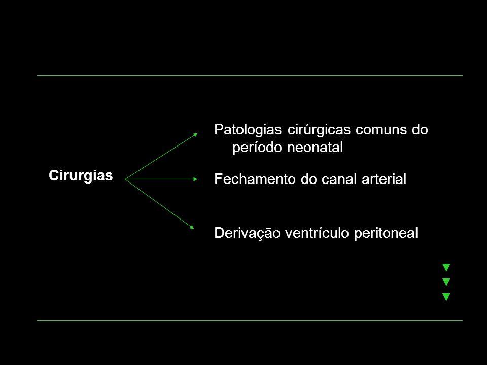 Cirurgias Patologias cirúrgicas comuns do período neonatal Fechamento do canal arterial Derivação ventrículo peritoneal
