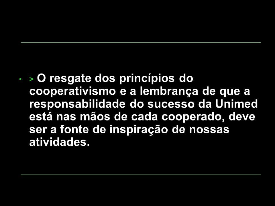 > O resgate dos princípios do cooperativismo e a lembrança de que a responsabilidade do sucesso da Unimed está nas mãos de cada cooperado, deve ser a