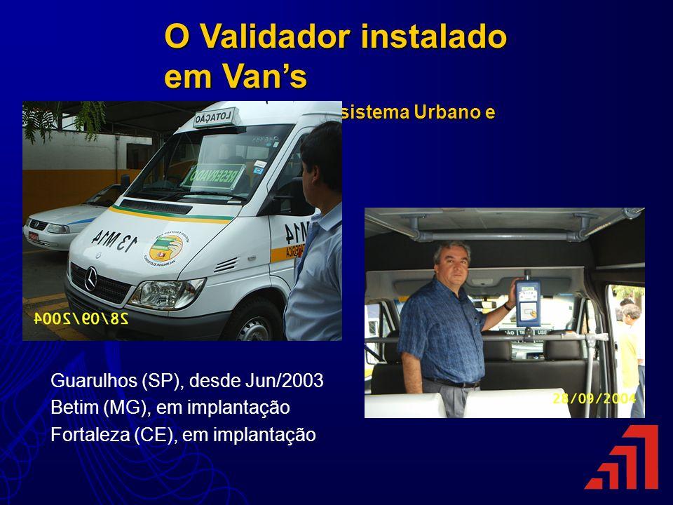O Validador instalado em Vans Integrado com sistema Urbano e Metropolitano Integrado com sistema Urbano e Metropolitano Guarulhos (SP), desde Jun/2003