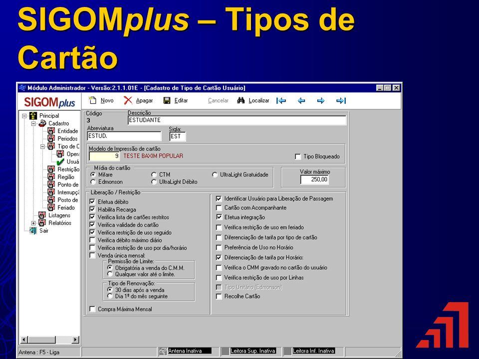 SIGOMplus – Tipos de Cartão