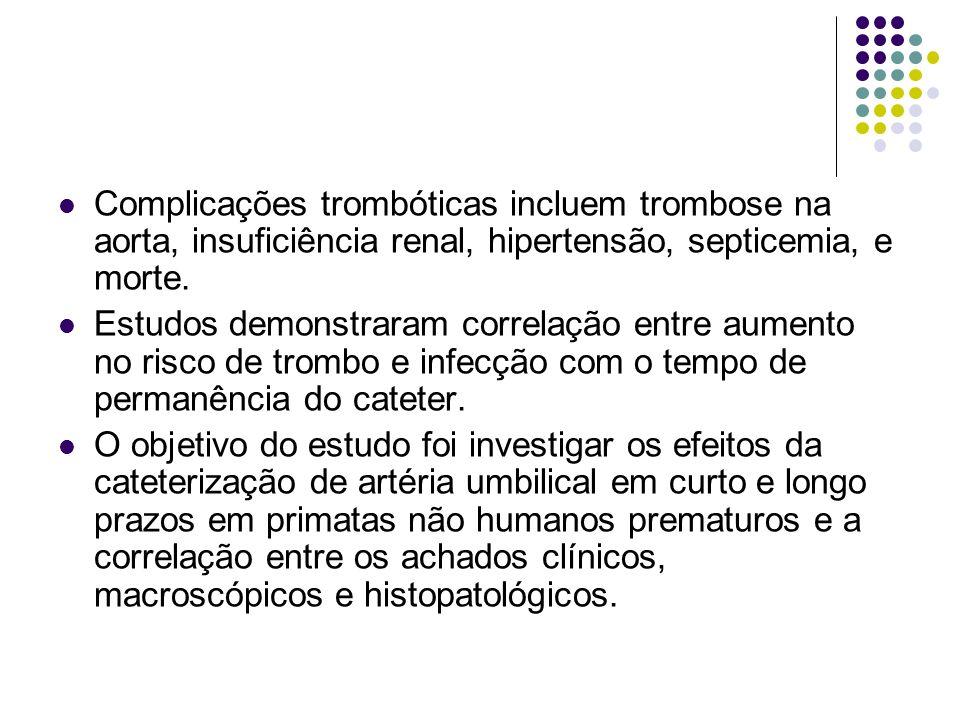 Complicações trombóticas incluem trombose na aorta, insuficiência renal, hipertensão, septicemia, e morte. Estudos demonstraram correlação entre aumen
