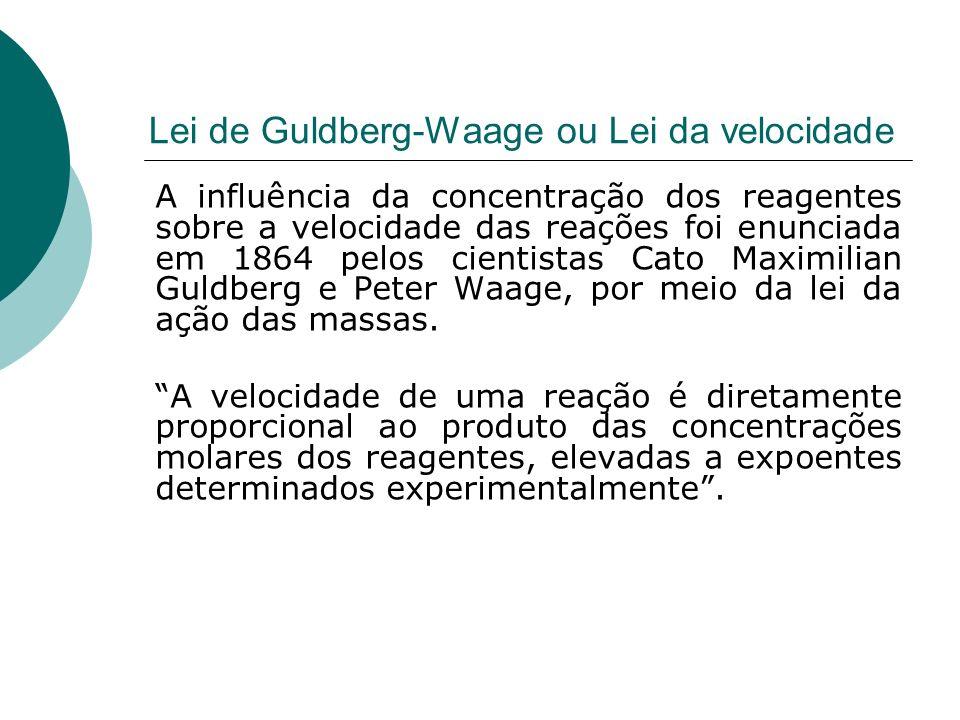 Lei de Guldberg-Waage ou Lei da velocidade A influência da concentração dos reagentes sobre a velocidade das reações foi enunciada em 1864 pelos cient