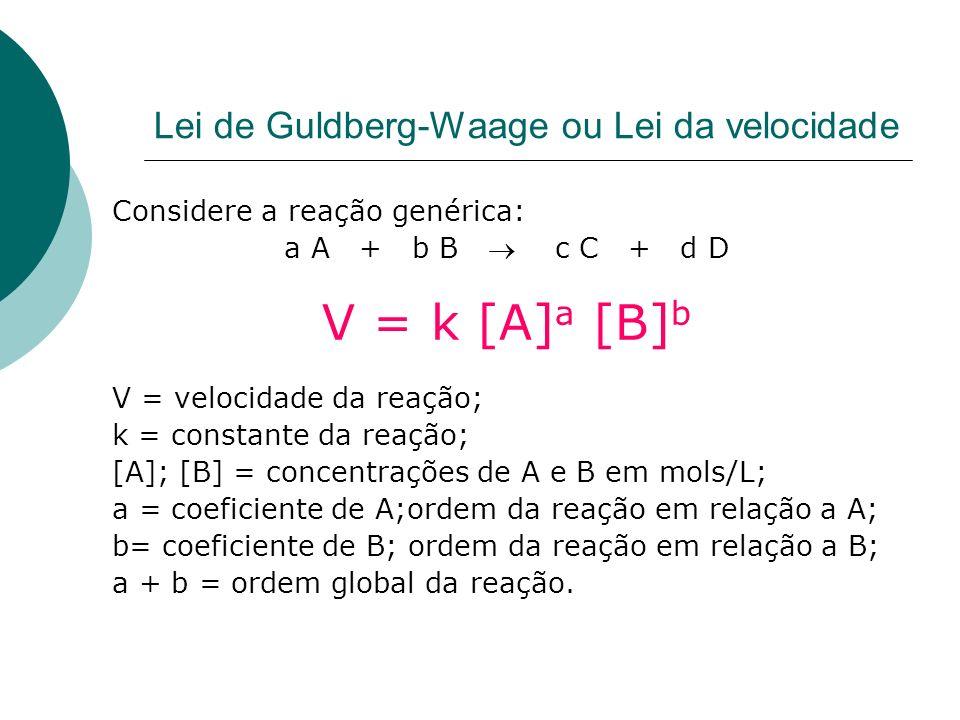 Lei de Guldberg-Waage ou Lei da velocidade Considere a reação genérica: a A + b B c C + d D V = k [A] a [B] b V = velocidade da reação; k = constante