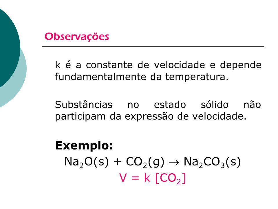 Observações k é a constante de velocidade e depende fundamentalmente da temperatura. Substâncias no estado sólido não participam da expressão de veloc
